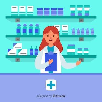 フラット笑顔薬剤師シンプル背景