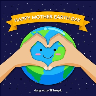 Flat smiling planet mother earth day background