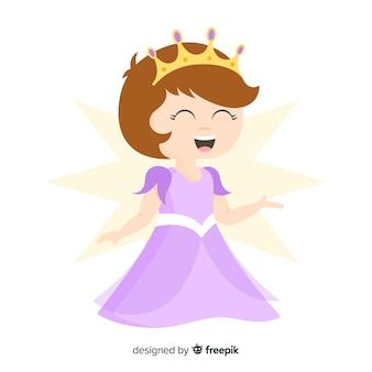 Flat smiling princess portrait