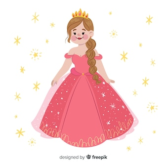 Flat smiling princess portrait