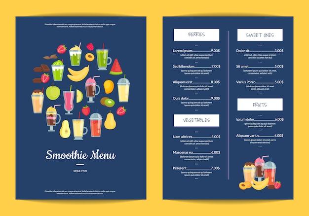 Flat smoothie elements cafe or restaurant menu