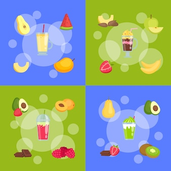 Flat smoothie elements infographic concept