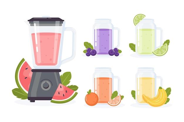 Frullati piatti nell'illustrazione di vetro del frullatore