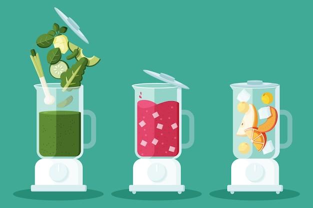 Плоские коктейли в стеклянной иллюстрации блендера