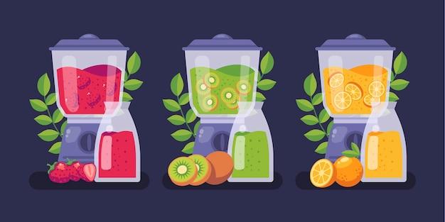 Плоские коктейли в стеклянной иллюстрации блендера Бесплатные векторы