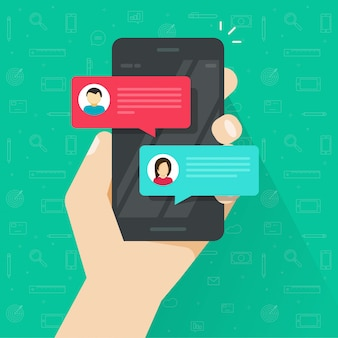 Flat sms bubbles on mobile phone screen or chatting on cellphone vector illustration