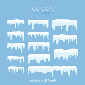 Коллекция плоских снежных шапок