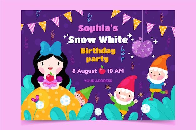Flat snow white birthday invitation template