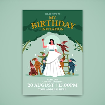Flat snow white birthday invitation