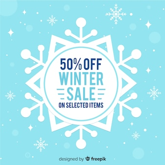 Flat snowflake winter sale background