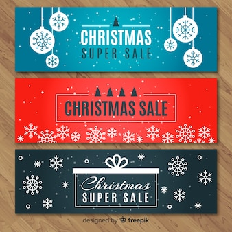 Flat snowflakes christmas sale banner