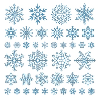Flat snowflakes. winter snowflake crystals, christmas snow shapes and frosted cool