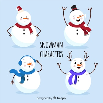 Flat snowman character collection