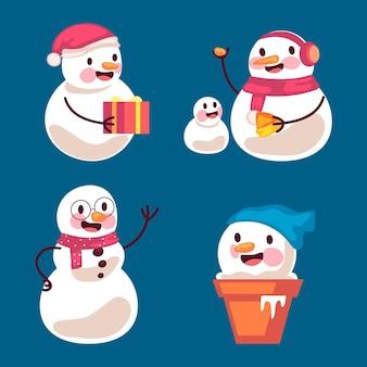 Collezione di personaggi pupazzo di neve piatto