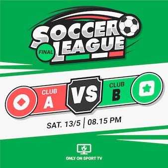 Flat soccer league final illustration