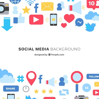 Flat social media background with colorful icons