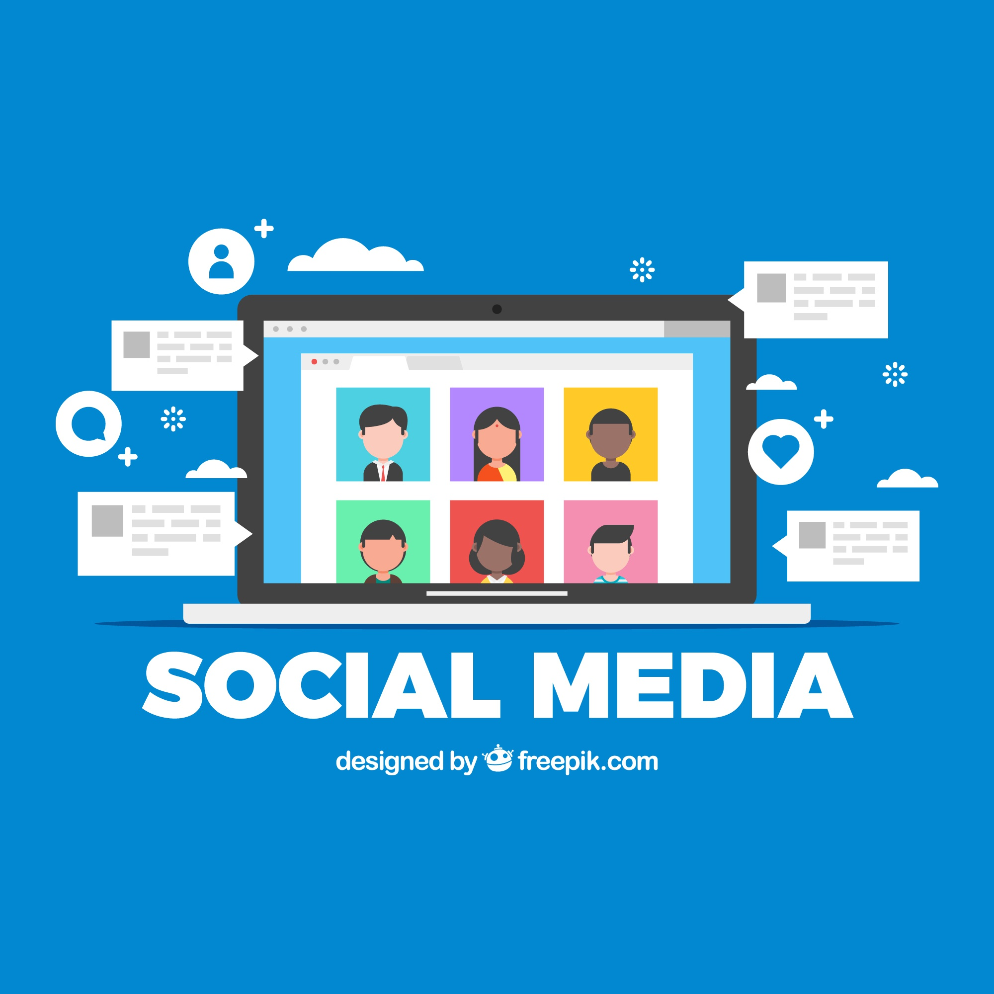 Flat social media background with computer