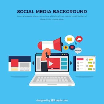 컴퓨터와 평면 소셜 미디어 배경