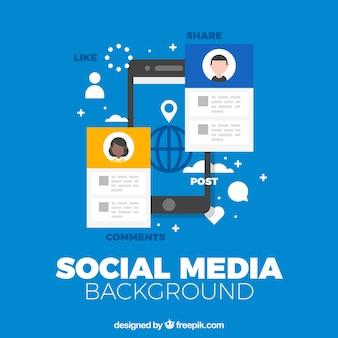 휴대 전화와 플랫 소셜 미디어 배경