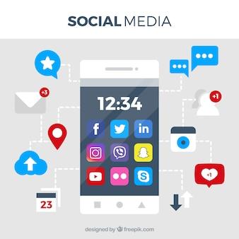 Фон социальной социальной сети с мобильным телефоном