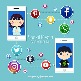 Flat social media background with mobile phone