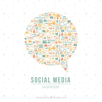 Flat social media background with speech bubble design