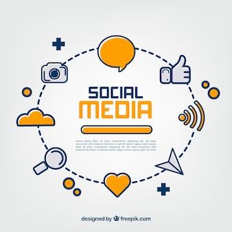 Sfondo piatto social media con varietà di icone