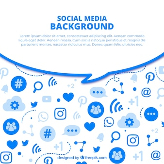 Flat social media background with variety of icons