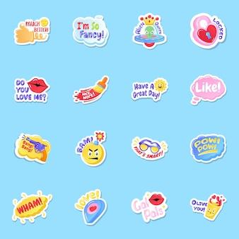 Flat social media likes and feedback stickers