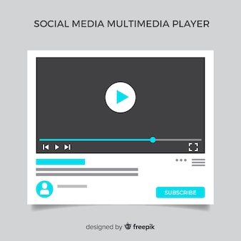Flat social media multimedia player template