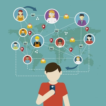 Piatto infografia social network