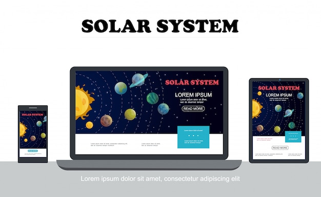 Плоская солнечная система красочная концепция с солнечными планетами, звездами, адаптивными для разрешения экранов планшетов мобильных ноутбуков