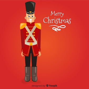 Flat soldier christmas background