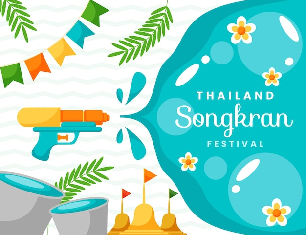 Flat songkran celebration illustration