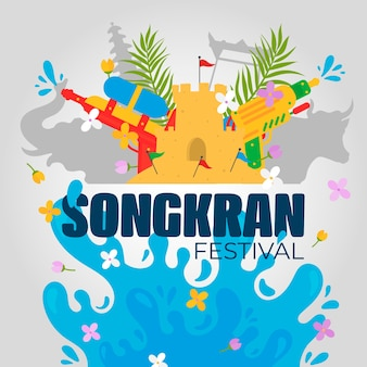Flat songkran festival background