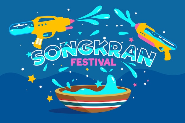 Flat songkran festival with splash
