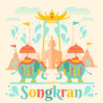 Flat songkran illustration