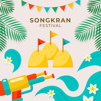 Flat songkran illustration