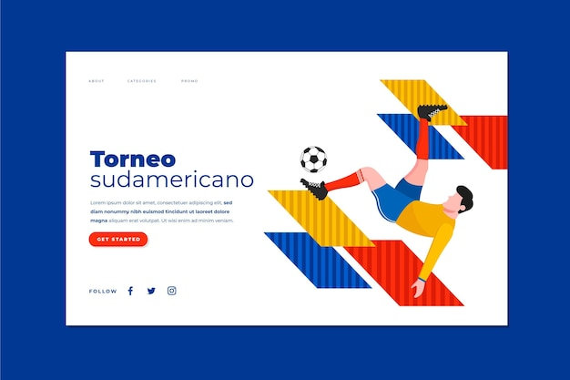 Modello di pagina di destinazione del calcio sudamericano piatto