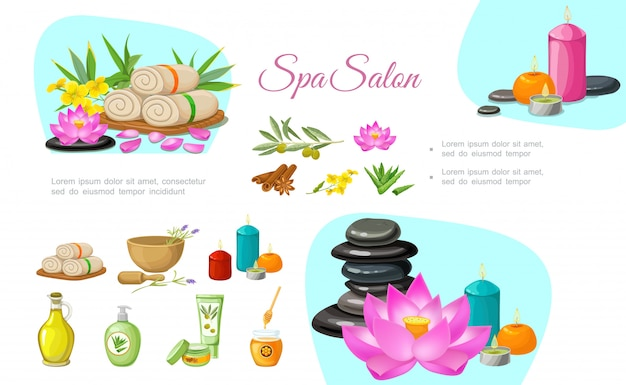 Flat spa salon composition with stones aroma candles towels olive branch natural oil cream lotus flower bamboo cinnamon sticks aloe vera