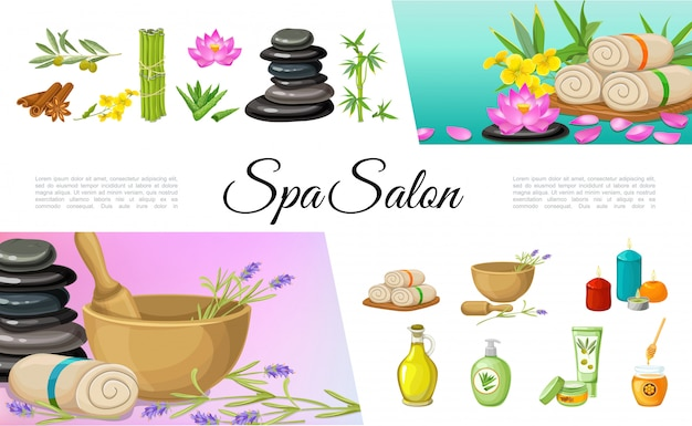 Flat spa salon elements collection with cinnamon sticks olive oil cream stones bamboo lotus flower towels aloe vera aroma candles honey