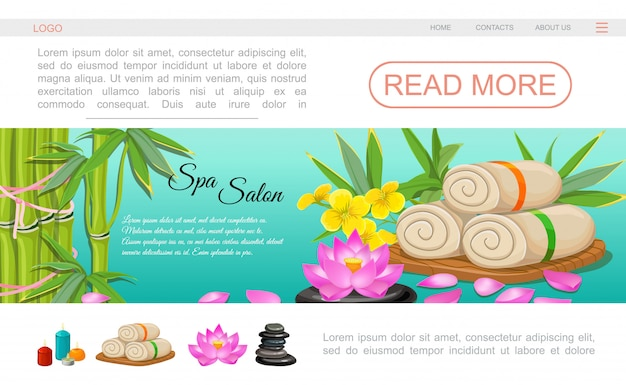 Flat spa salon landing page template with towels lotus flower bamboo aroma candles stones