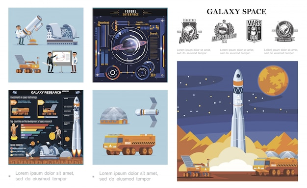 Flat space colorful composition with rocket launch moon rover and truck satellite scientists futuristic interface galaxy research infographics mars exploration labels