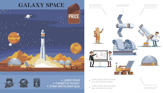 Flat space exploration composition with rocket launch cosmonaut satellite scientists telescope planetarium moon rover mars discovery labels
