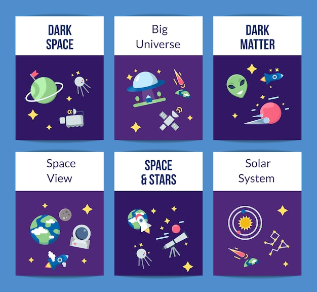 Flat space icons cards