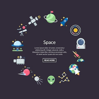 Flat space icons in circle shape banner set