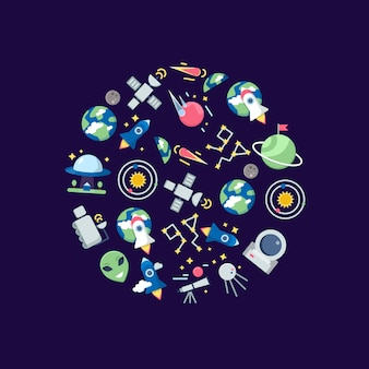 Flat space icons in circle shape