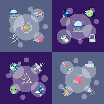 Flat space icons infographic concept