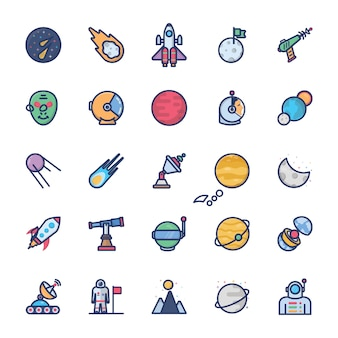 Flat space icons set