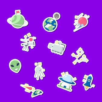 Flat space icons stickers set